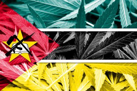 drug dealer: Mozambique Flag on cannabis background. Drug policy. Legalization of marijuana