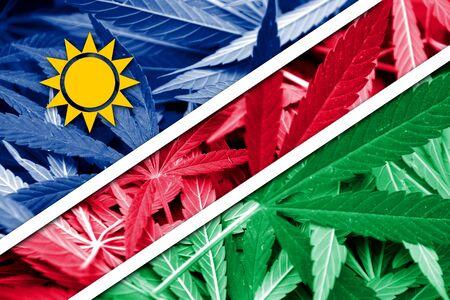 drug dealer: Namibia Flag on cannabis background. Drug policy. Legalization of marijuana