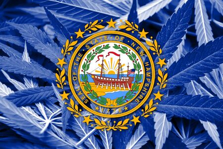smuggling: New Hampshire State Flag on cannabis background. Drug policy. Legalization of marijuana