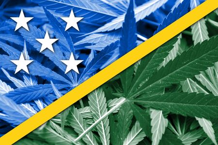 education policy: Solomon Islands Flag on cannabis background. Drug policy. Legalization of marijuana