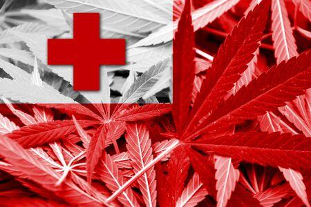 tonga: Tonga Flag on cannabis background. Drug policy. Legalization of marijuana