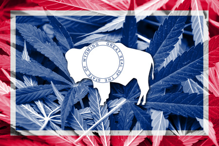 smuggling: Wyoming State Flag on cannabis background. Drug policy. Legalization of marijuana Stock Photo