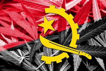 education policy: Angola Flag on cannabis background. Drug policy. Legalization of marijuana Stock Photo