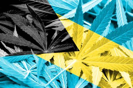 drug dealer: Bahamas Flag on cannabis background. Drug policy. Legalization of marijuana Stock Photo