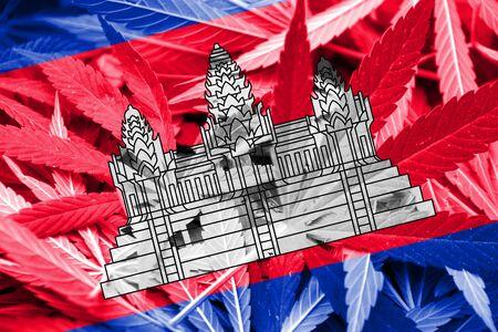 thc: Cambodia Flag on cannabis background. Drug policy. Legalization of marijuana