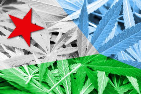 drug dealer: Djibouti Flag on cannabis background. Drug policy. Legalization of marijuana