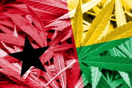 legalization: Guinea Bissau Flag on cannabis background. Drug policy. Legalization of marijuana