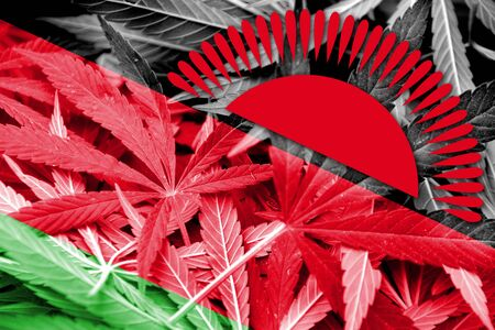 malawi flag: Malawi Flag on cannabis background. Drug policy. Legalization of marijuana