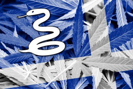 marihuana: Martinique Flag on cannabis background. Drug policy. Legalization of marijuana