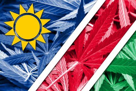 thc: Namibia Flag on cannabis background. Drug policy. Legalization of marijuana