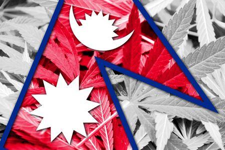 drug dealer: Nepal Flag on cannabis background. Drug policy. Legalization of marijuana Stock Photo