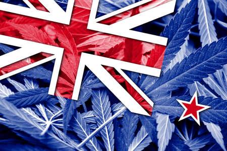 new zealand flag: New Zealand Flag on cannabis background. Drug policy. Legalization of marijuana