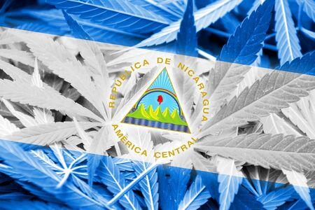 marihuana: Nicaragua Flag on cannabis background. Drug policy. Legalization of marijuana