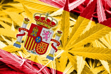 smuggling: Spain Flag on cannabis background. Drug policy. Legalization of marijuana Stock Photo