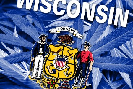 wisconsin state: Wisconsin State Flag on cannabis background. Drug policy. Legalization of marijuana
