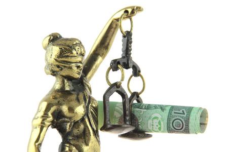 simbolo de la mujer: Símbolo de la ley y la justicia. Estatua de Justicia y de billetes de banco polaco.