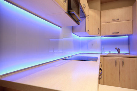 extractor: Modern luxury kitchen with purple LED lighting