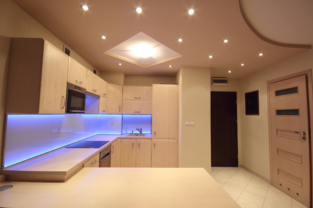 residential homes: Modern luxury kitchen with purple LED lighting