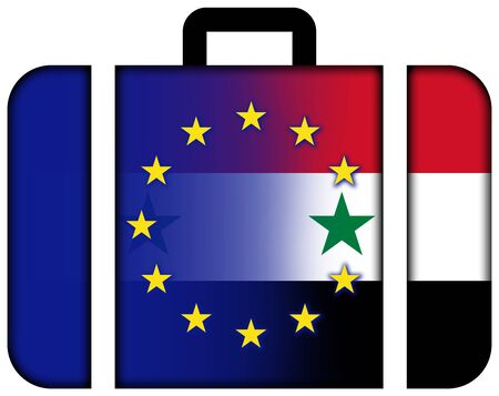 middle east crisis: Suitcase with Syria and EU Flag Stock Photo