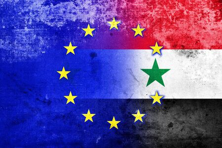 emigranti: EU and Syria Flag with a vintage and old look