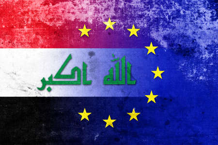 middle east war: European Union and Iraq Flag with a vintage, old look