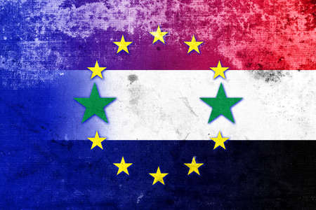 exile: European Union and Syria Flag with a vintage, old look