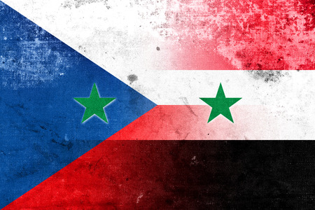 exile: Syria and Czech Republic Flag with a vintage, old look