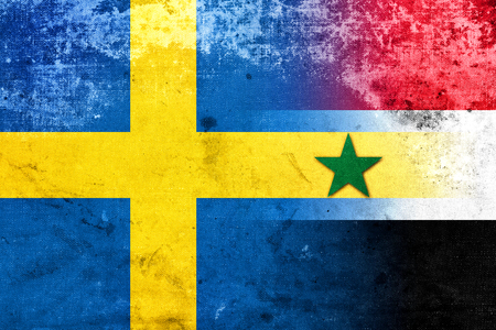 exile: Syria and Sweden Flag with a vintage, old look Stock Photo