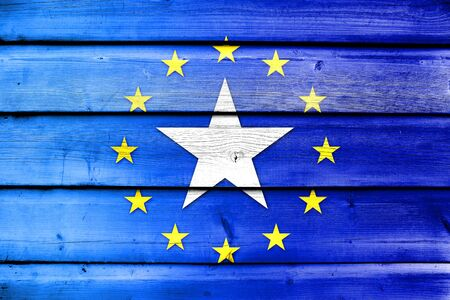 somalian culture: European Union and Somalia Flag on wood background