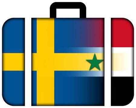 bandera de suecia: Maleta con Siria y la bandera de Suecia