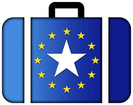 european union: Suitcase with European Union and Somalia Flag Stock Photo