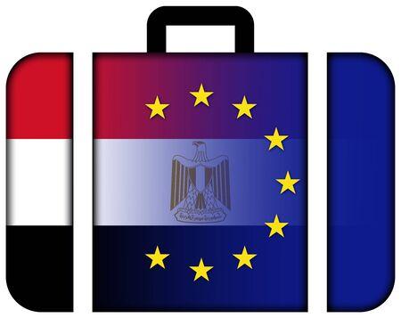 bandera de egipto: Suitcase with European Union and Egypt Flag