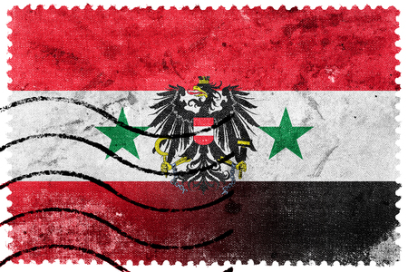illegally: Syria and Austria Flag - old postage stamp Stock Photo