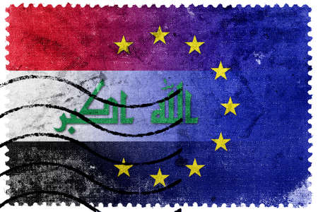 illegally: European Union and Iraq Flag - old postage stamp Stock Photo