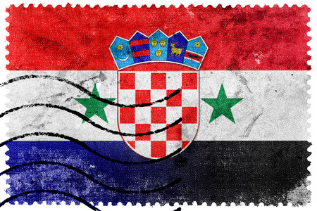 bandera croacia: Siria y la bandera de Croacia - antiguo sello de correos Editorial