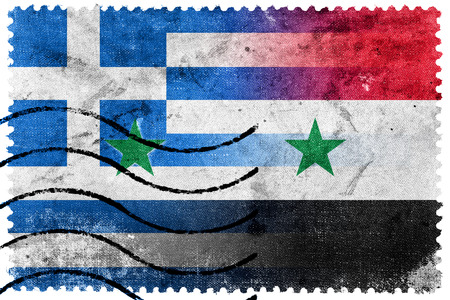 illegally: Syria and Greece Flag - old postage stamp