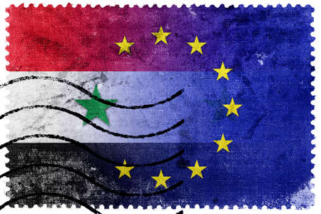 middle east crisis: European Union and Syria Flag - old postage stamp