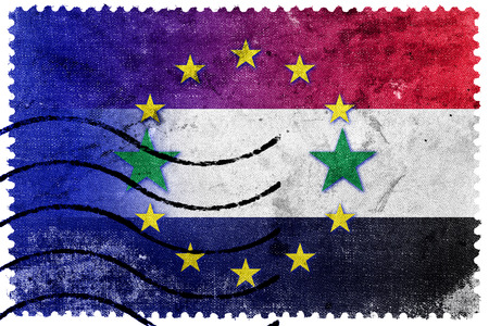 illegally: European Union and Syria Flag - old postage stamp