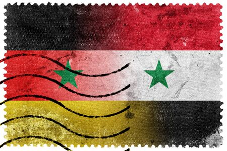 illegally: Syria and Germany Flag - old postage stamp