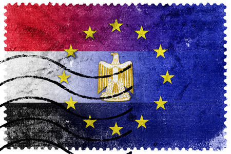 egypt flag: European Union and Egypt Flag - old postage stamp