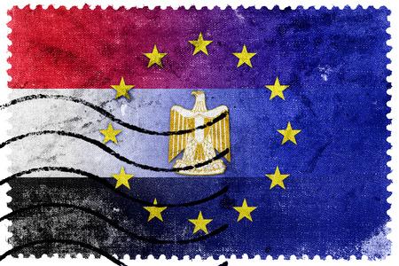 bandera de egipto: Uni�n Europea y la bandera de Egipto - antiguo sello de correos