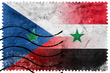 czech republic flag: Syria and Czech Republic Flag - old postage stamp