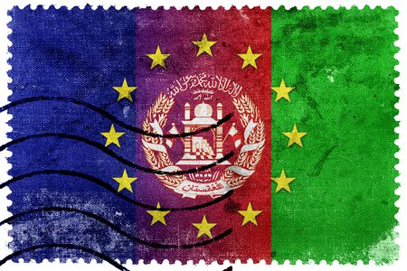 middle east crisis: European Union and Afghanistan Flag - old postage stamp