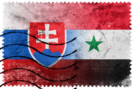 illegally: Syria and Slovakia Flag - old postage stamp