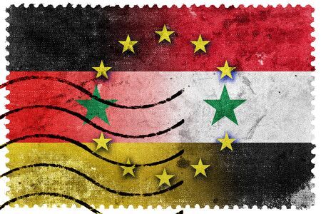 exile: European Union, Germany and Syria Flag - old postage stamp Stock Photo