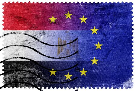 illegally: European Union and Egypt Flag - old postage stamp