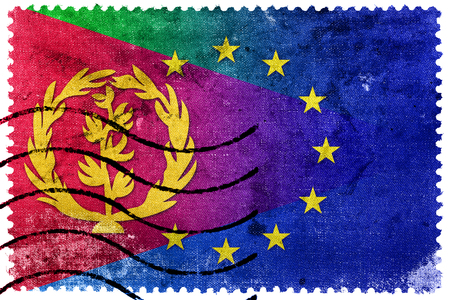illegally: European Union and Eritrea Flag - old postage stamp
