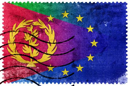 exile: European Union and Eritrea Flag - old postage stamp