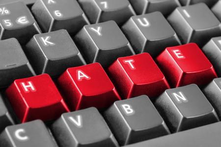 Word hate written with keyboard buttons Standard-Bild