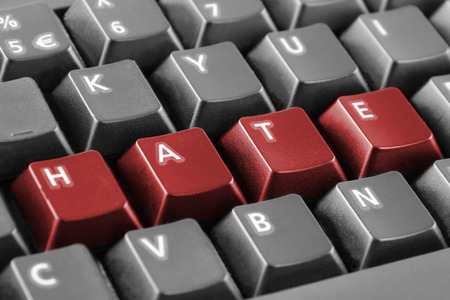 hate: Word hate written with keyboard buttons Stock Photo